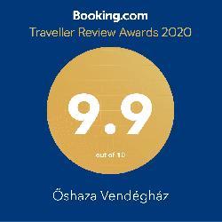 Az ŐSHAZA Vendégház a BOOKING online foglalási rendszer vendégértékelései alapján kimagasló minőségben teljesít
